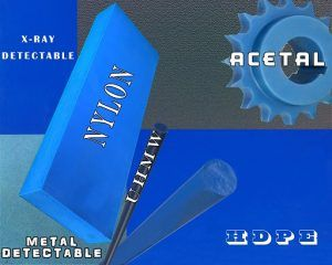 Blue Acetal, Blue UHMW, Blue Nylon and Blue Hydex 4101 UD Blue Plastic Rod detectable plastic Blue Detectable Plastic Helps Reduce Food Recalls Detectable Blue Plastic Rods