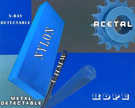 Blue Acetal, Blue UHMW, Blue Nylon and Blue Hydex 4101 UD Blue Plastic Rod